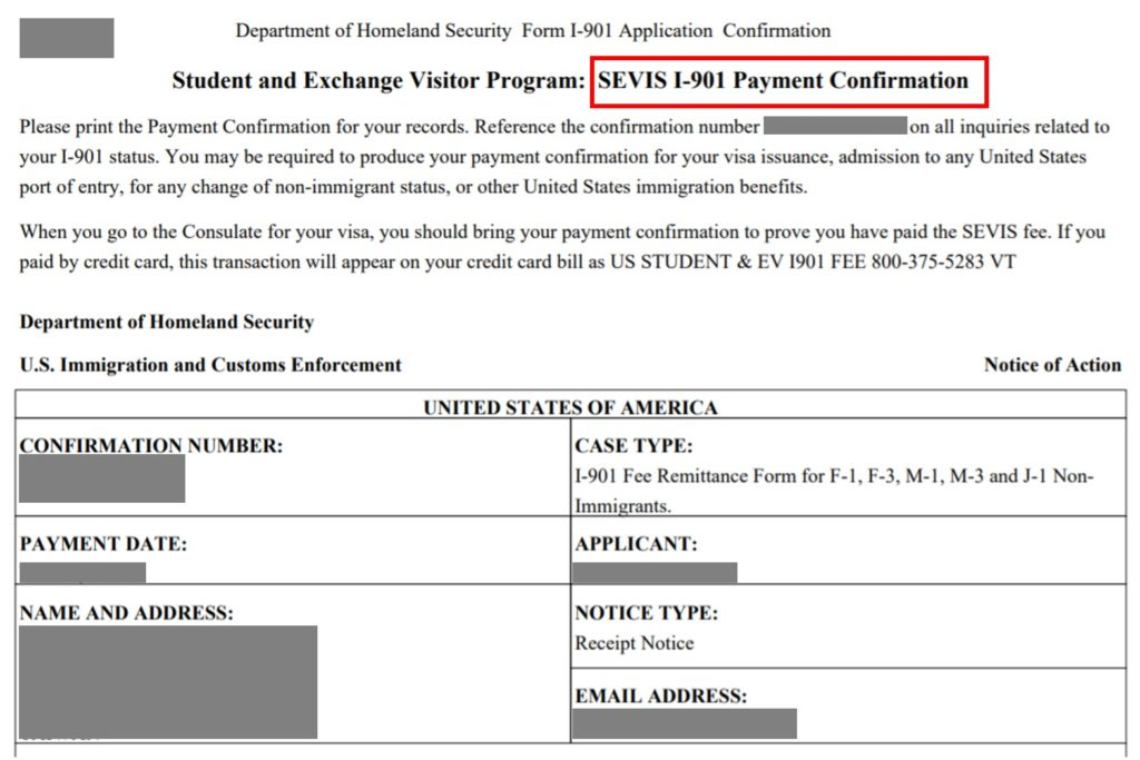 i-901 payment confirmation