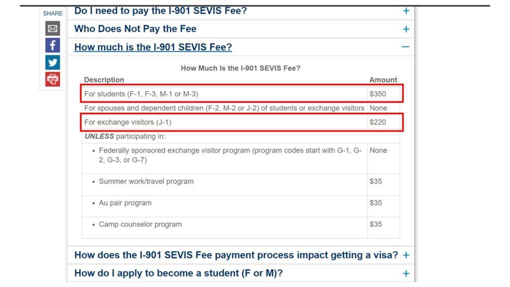 sevis i-901 fee