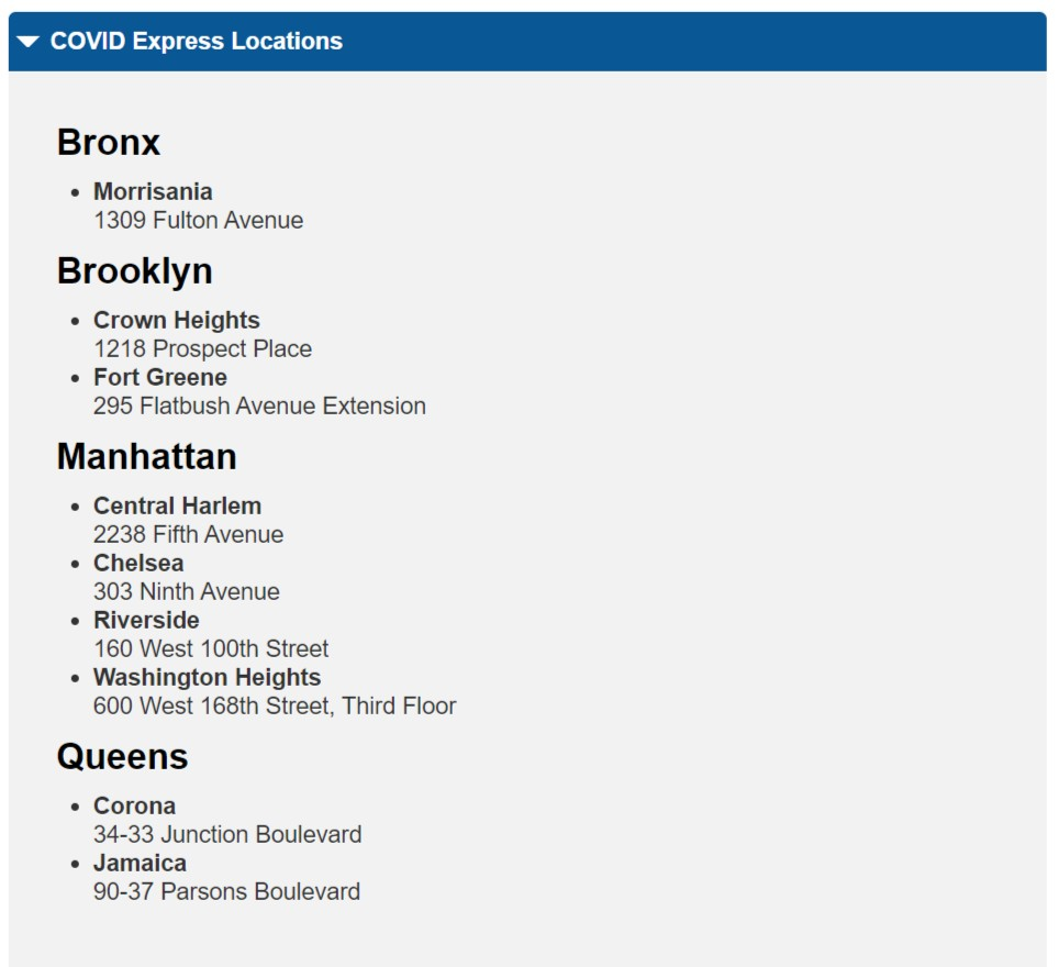 紐約免費covid19核酸檢測-COVID-19- Rapid Testing locations