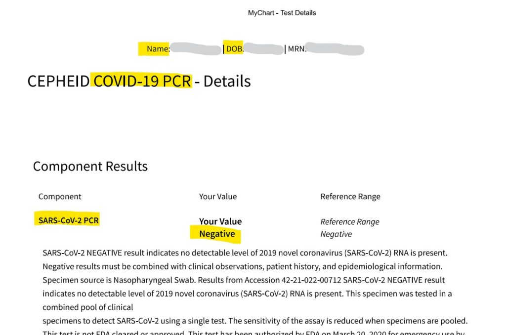 紐約免費covid19核酸檢測-COVID-19- Rapid Testing-result